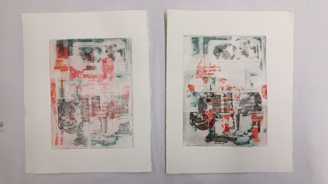 2 prints, each with 3 superimposed layers from 3 different etched plates in red, green and black